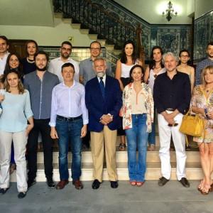 Recepción del Alcalde a los arquitectos en el Ayuntamiento de Talavera.